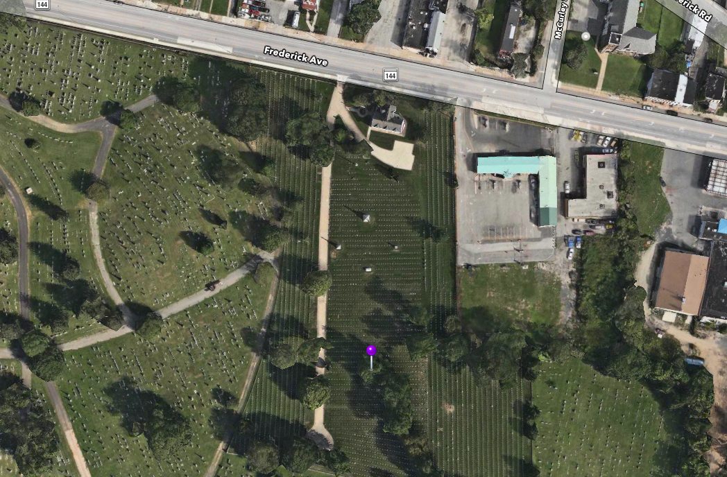 Location of James H. Rigby's gravesite.