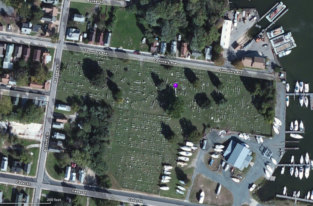 Location of Thomas Holliday Hicks' gravesite.