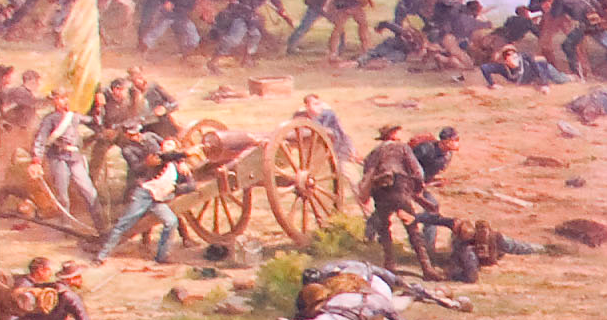 Cushing as depicted in the Gettysburg Cyclorama. Note his left hand clutching his abdomen.