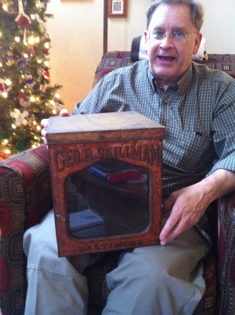 My dad holding a piece of family history.