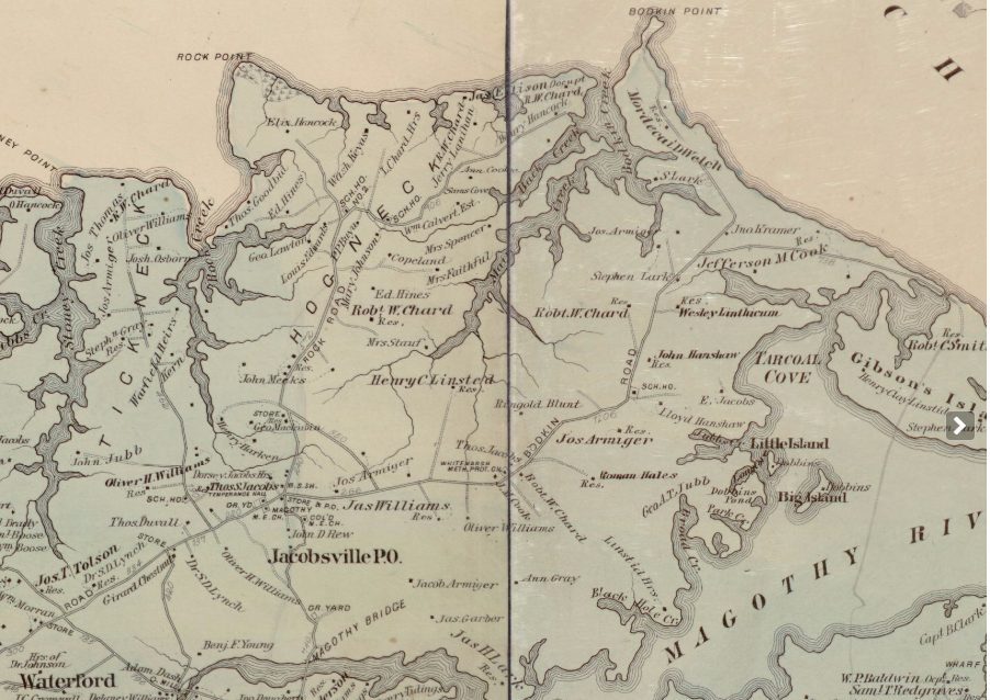 Hopkins 1878 Map of Jacobsville and Hog Neck - <i>Library of Congress</i>