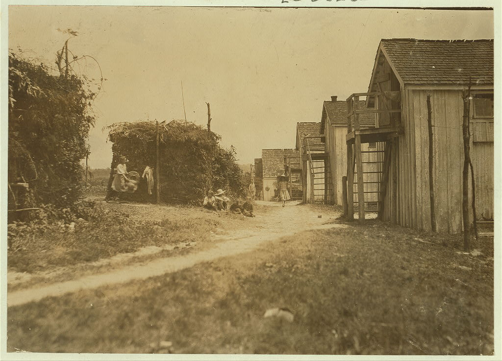 """Shanties and cooking shacks on berry farm of Bottomley's, near Baltimore. Md. At times, four families live in one shanty: three families is the rule--two rooms. (See report of July 10, 1909.)"", 1909 - Lewis Hine - <i>Library of Congress</i>"